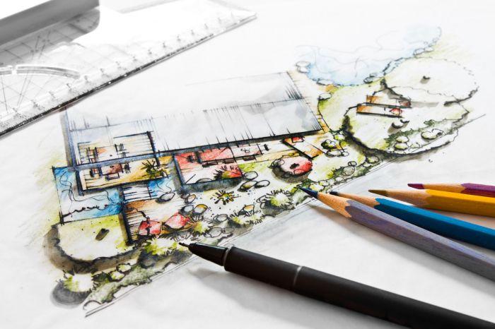 Gartenplanung - handgezeichneter Entwurf