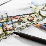 Handgezeichneter Entwurf eines Gartens